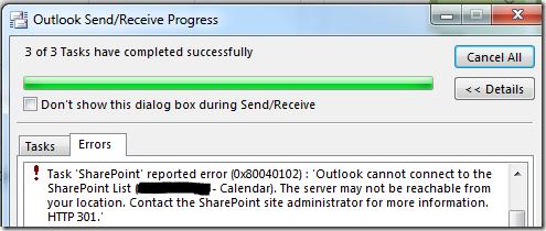 SharePoint 2013 And Outlook 2013 Calendar or Library Sync Error